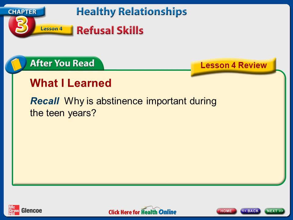 Lesson 4 Review What I Learned. Recall Why is abstinence important during the teen years
