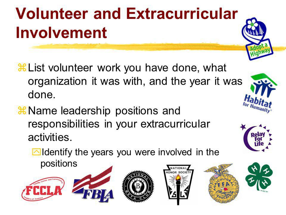 Volunteer and Extracurricular Involvement