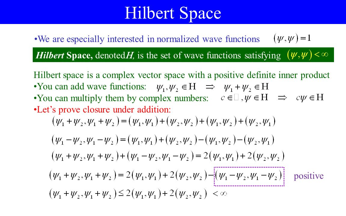 3 hilbert space and vector spaces ppt video online download hilbert space we are especially interested in normalized wave functions hilbert space denoted publicscrutiny Image collections