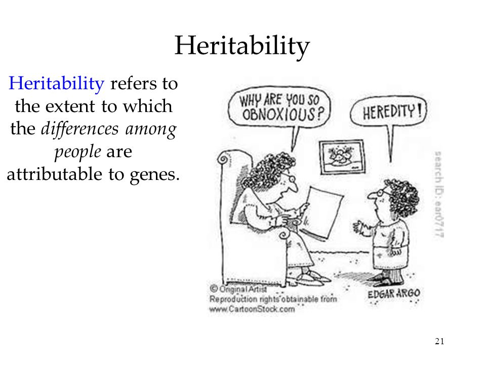 Heritability Heritability refers to the extent to which the differences among people are attributable to genes.