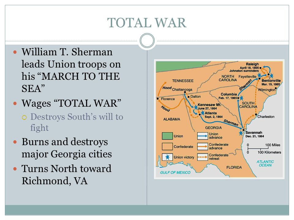 TOTAL WAR William T. Sherman leads Union troops on his MARCH TO THE SEA Wages TOTAL WAR Destroys South's will to fight.