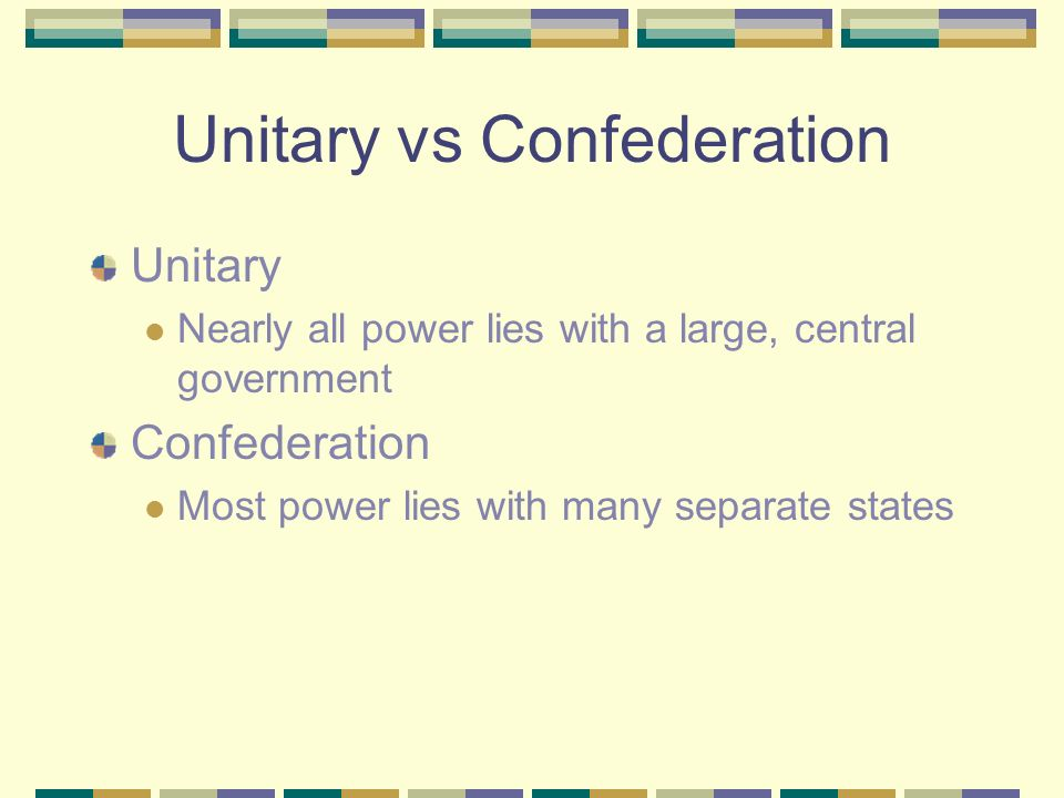 Unitary vs Confederation