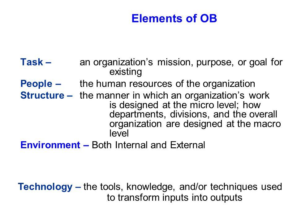 3 levels of organizational behavior