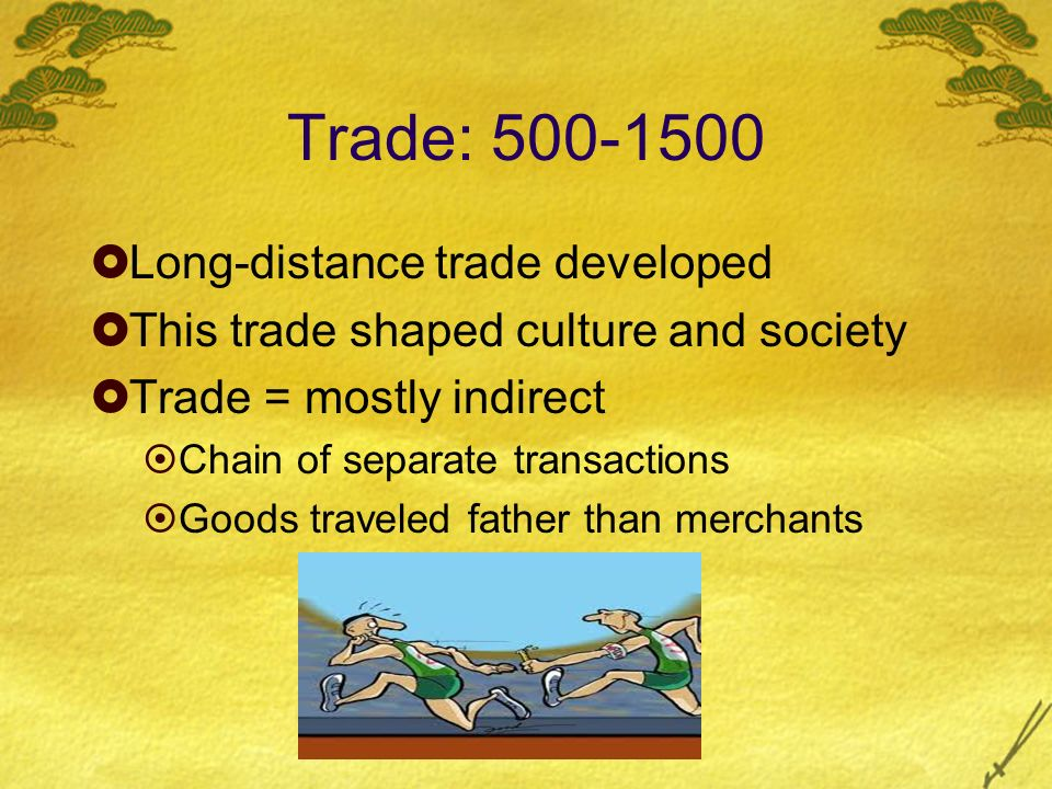Trade: Long-distance trade developed