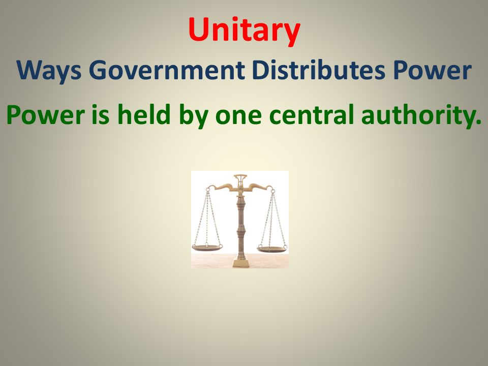 Unitary Ways Government Distributes Power