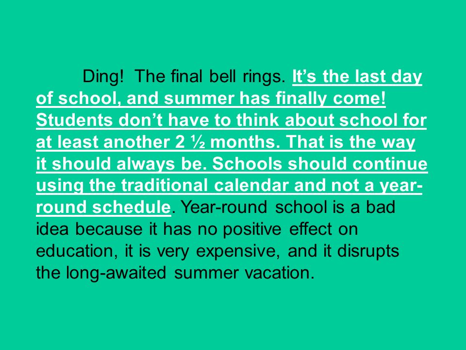 Ding. The final bell rings