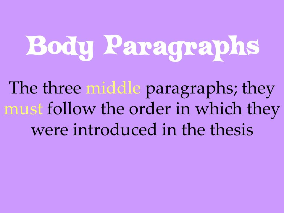 Body Paragraphs The three middle paragraphs; they must follow the order in which they were introduced in the thesis.