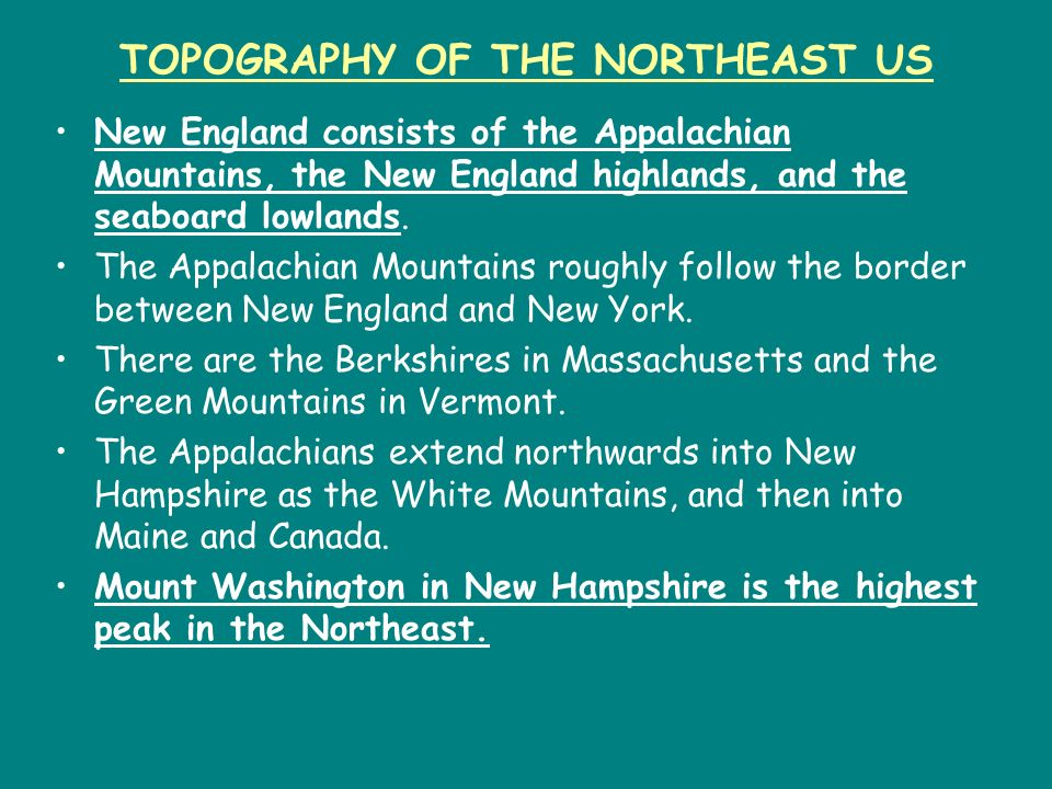 TOPOGRAPHY OF THE NORTHEAST US