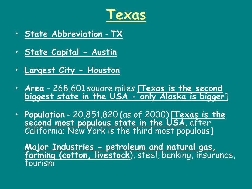 Texas State Abbreviation - TX State Capital - Austin