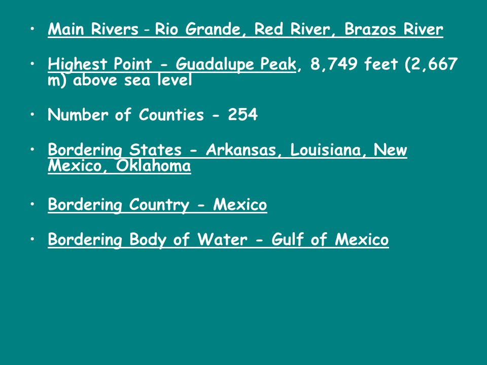 Main Rivers - Rio Grande, Red River, Brazos River