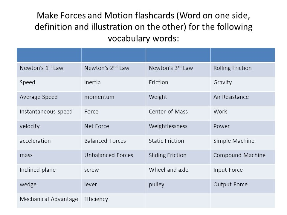 Make Forces and Motion flashcards (Word on one side, definition and illustration on the other) for the following vocabulary words: