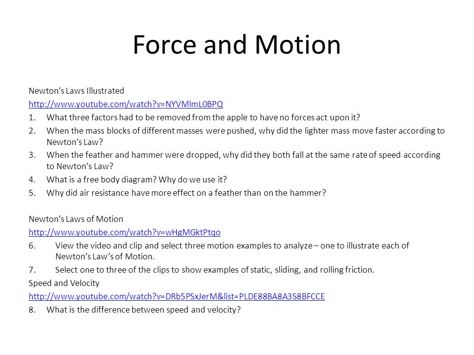 Force and Motion Newton's Laws Illustrated