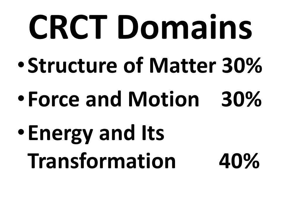 CRCT Domains Structure of Matter 30% Force and Motion 30%