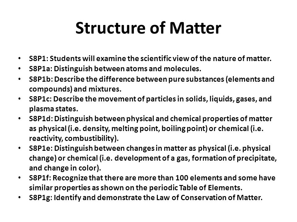 Structure of Matter S8P1: Students will examine the scientific view of the nature of matter. S8P1a: Distinguish between atoms and molecules.