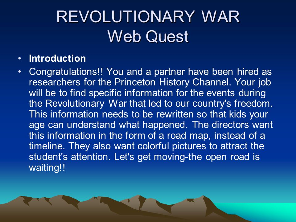 REVOLUTIONARY WAR Web Quest