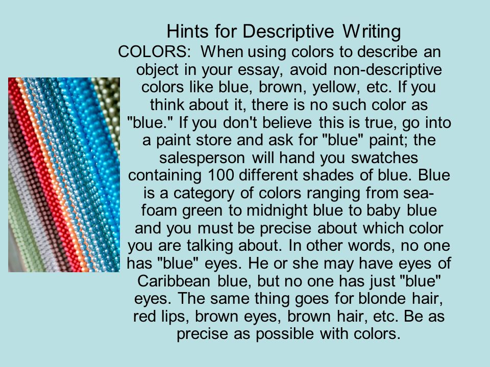 Hints for Descriptive Writing