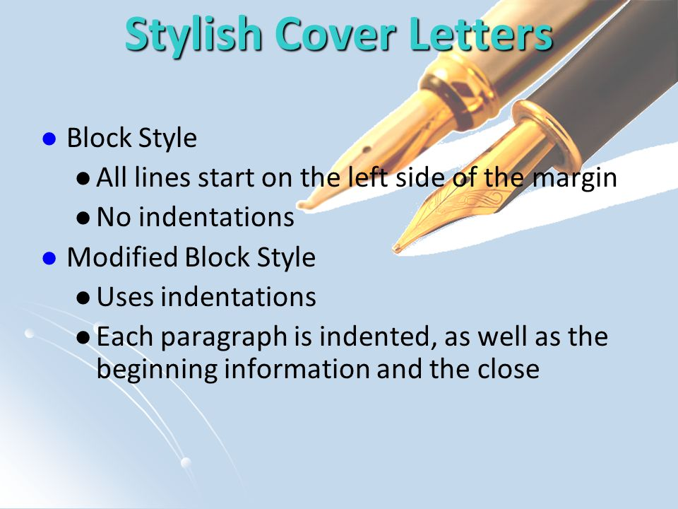 Stylish Cover Letters Block Style