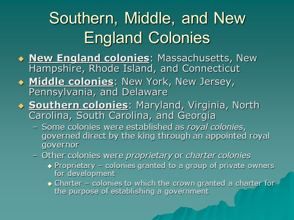 Southern, Middle, and New England Colonies