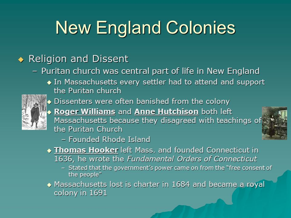 New England Colonies Religion and Dissent