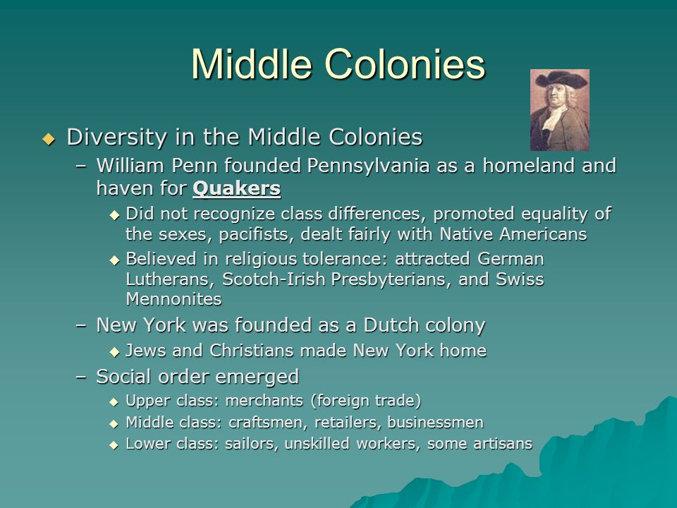 Middle Colonies Diversity in the Middle Colonies
