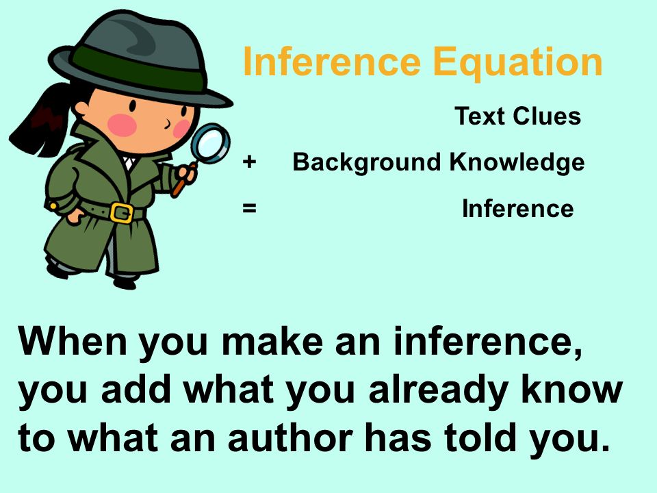 Inference Equation Text Clues. + Background Knowledge. = Inference.