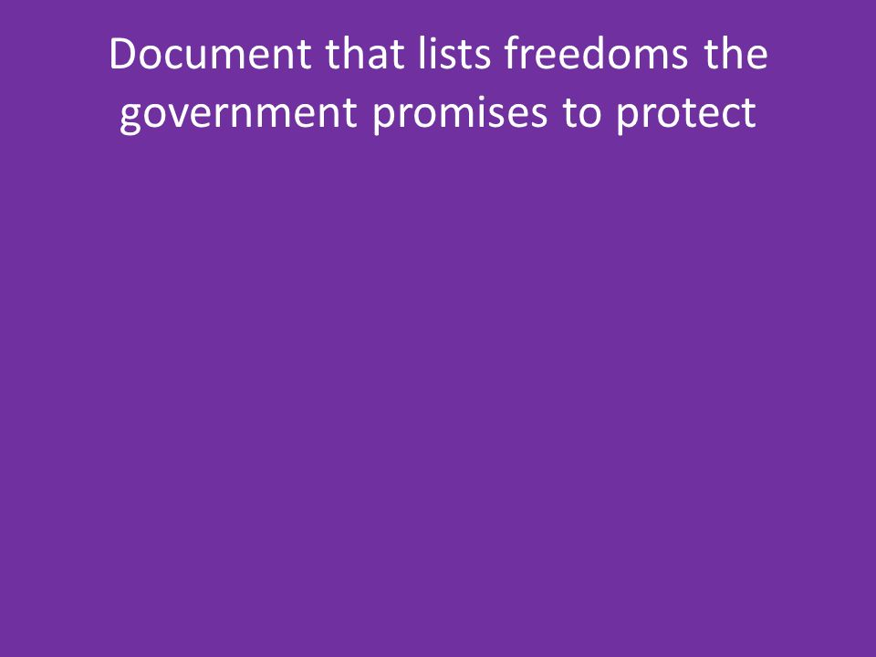 Document that lists freedoms the government promises to protect