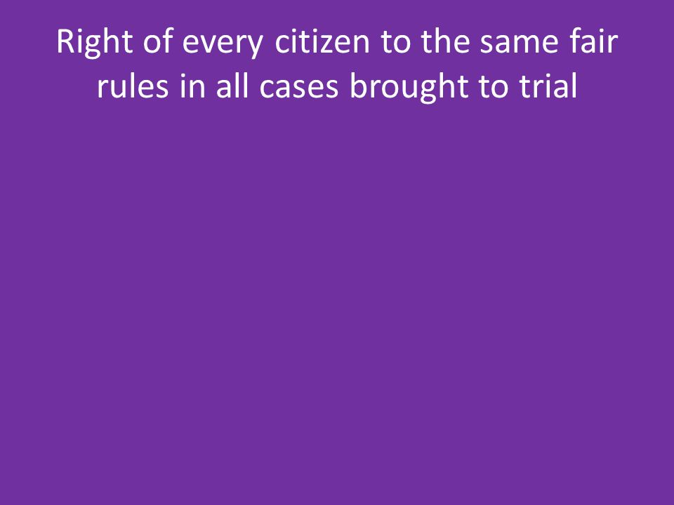 Right of every citizen to the same fair rules in all cases brought to trial