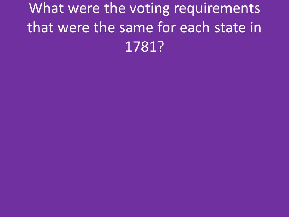What were the voting requirements that were the same for each state in 1781