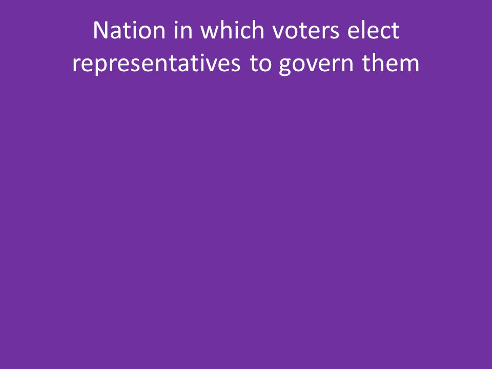 Nation in which voters elect representatives to govern them