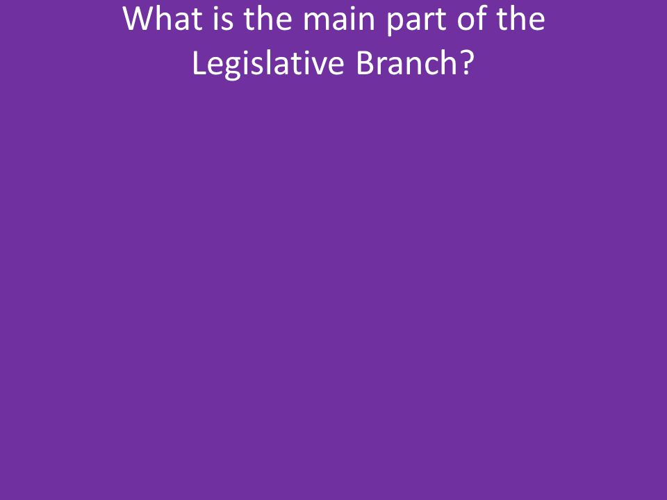 What is the main part of the Legislative Branch