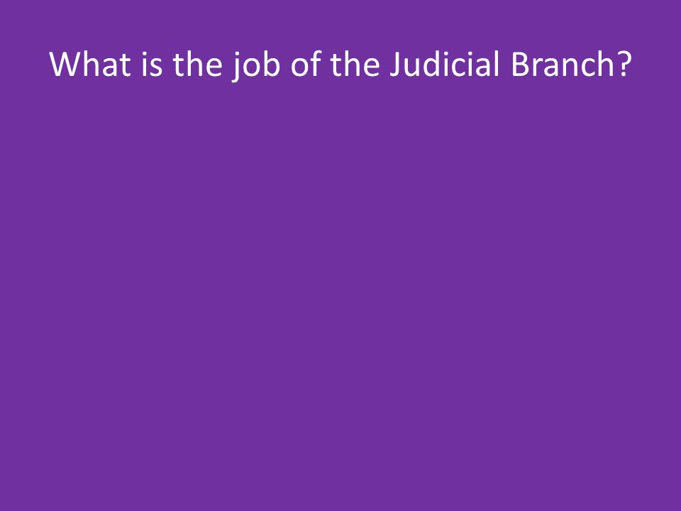 What is the job of the Judicial Branch
