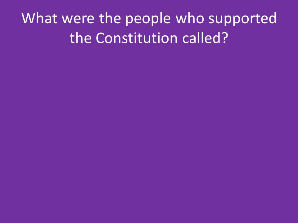 What were the people who supported the Constitution called