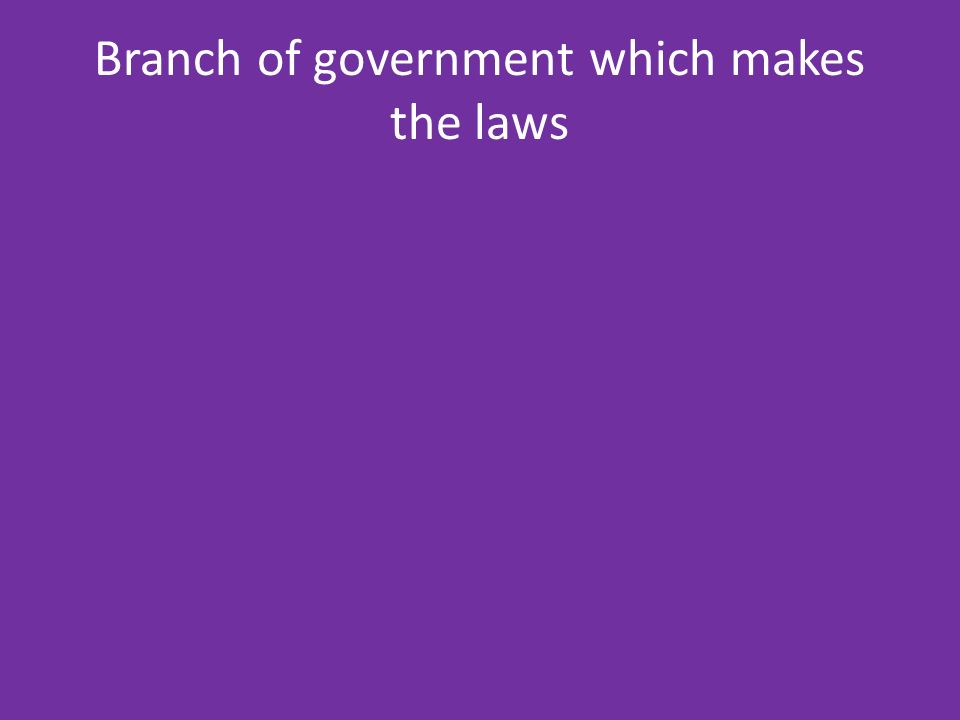 Branch of government which makes the laws