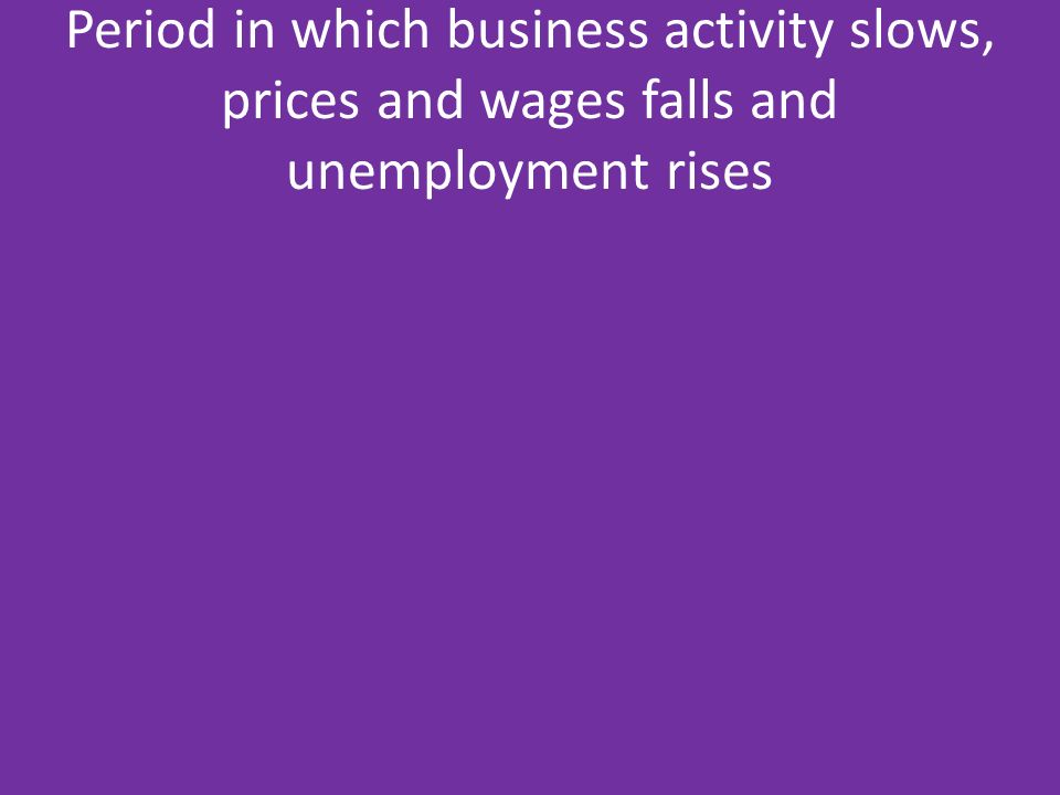 Period in which business activity slows, prices and wages falls and unemployment rises