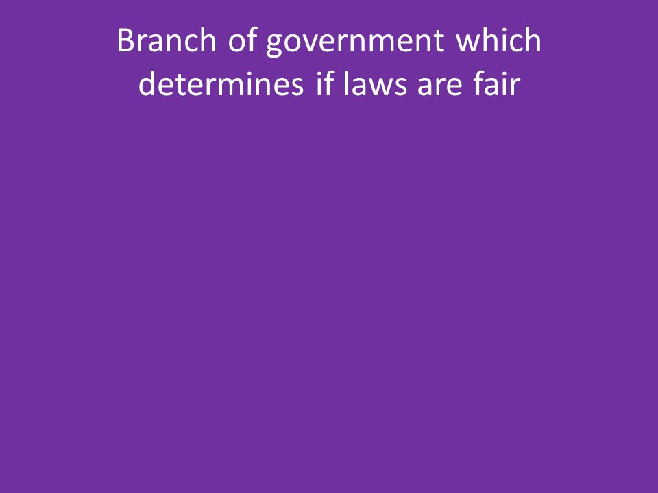Branch of government which determines if laws are fair