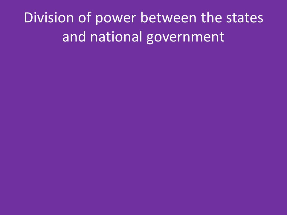 Division of power between the states and national government