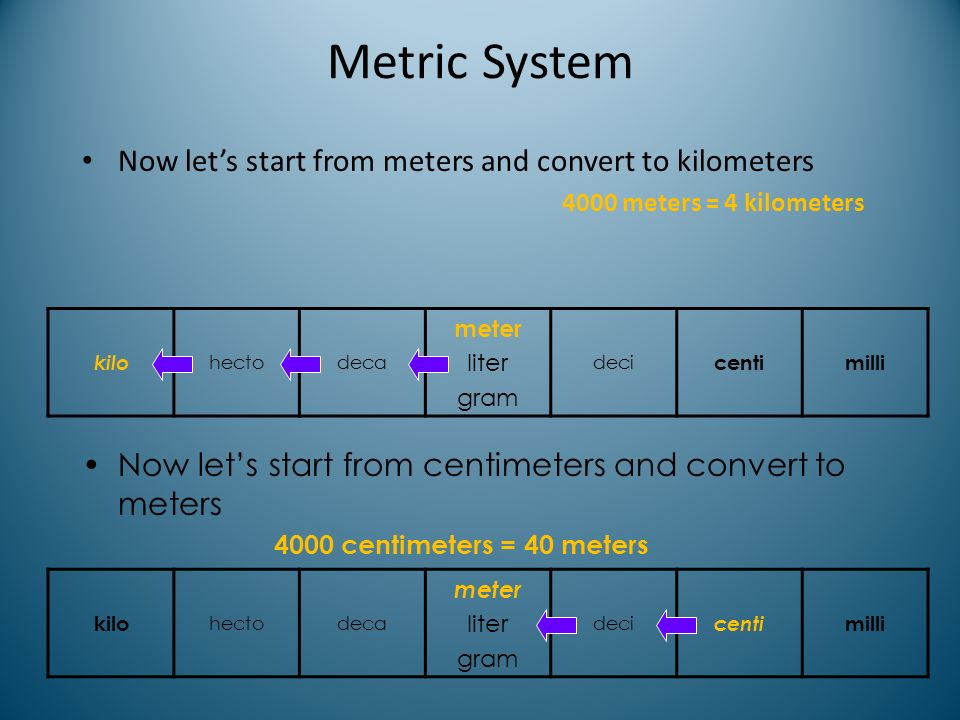 Metric System Now let's start from meters and convert to kilometers