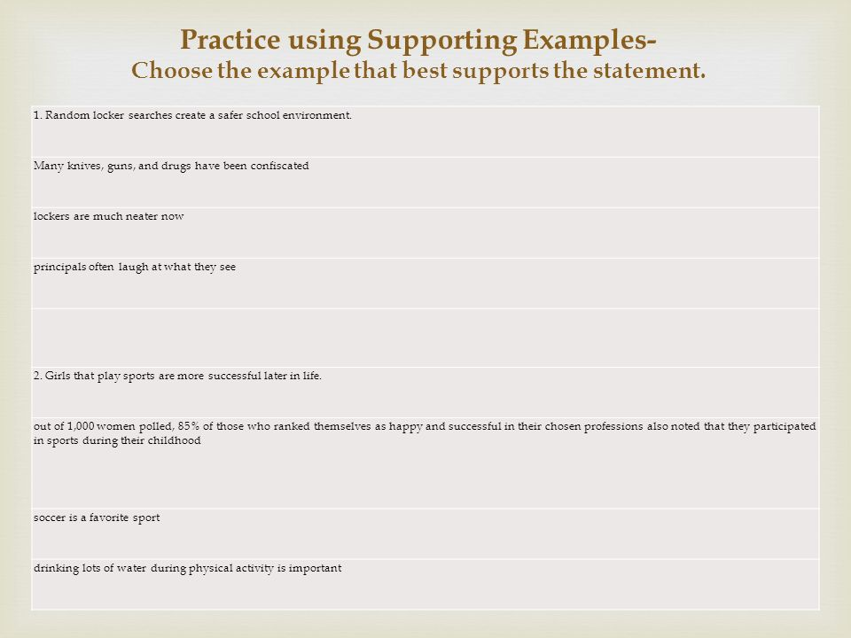Practice using Supporting Examples- Choose the example that best supports the statement.