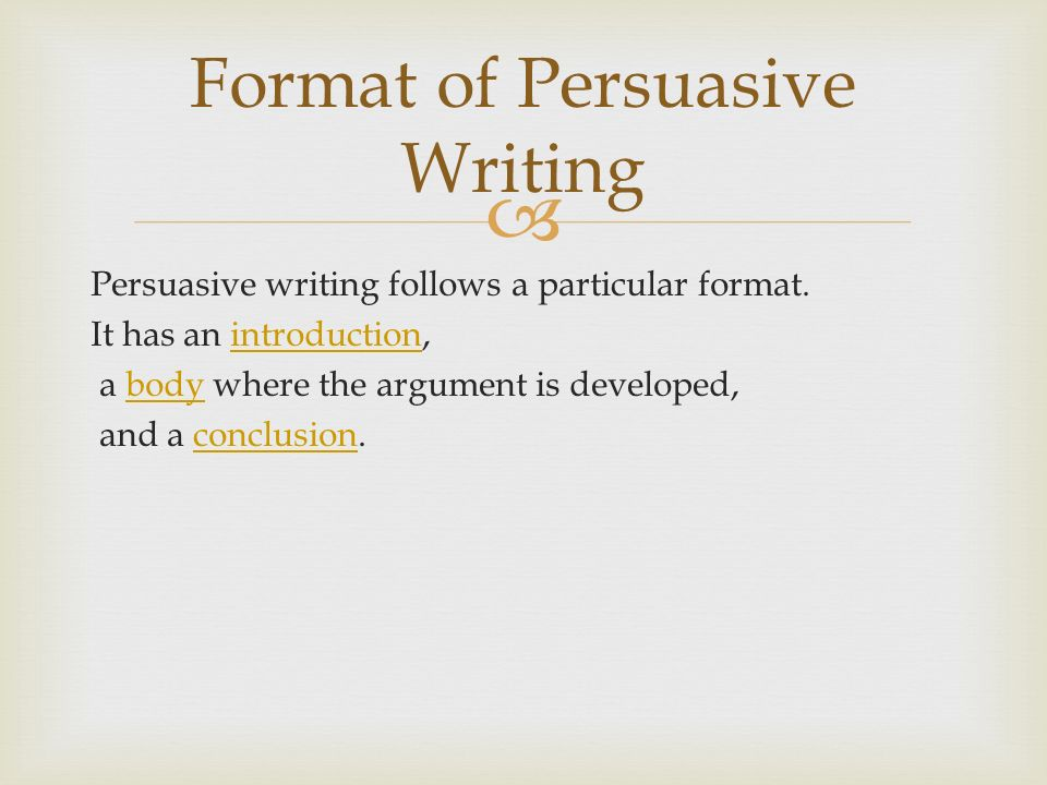 Format of Persuasive Writing