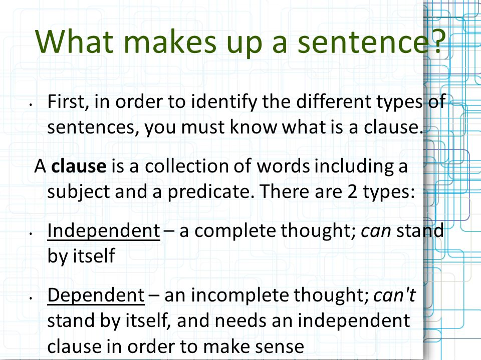 What makes up a sentence