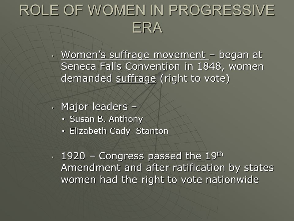 ROLE OF WOMEN IN PROGRESSIVE ERA