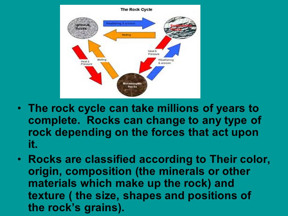 The rock cycle can take millions of years to complete