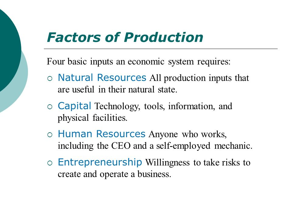 Factors of Production Four basic inputs an economic system requires: