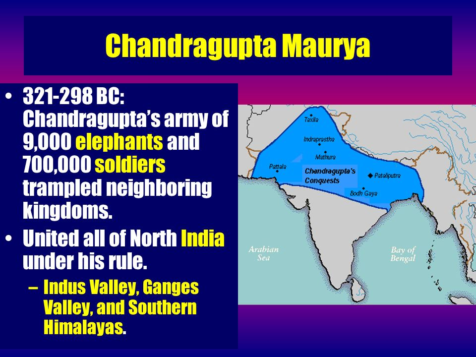 Chandragupta Maurya 321-298 BC: Chandragupta's army of 9,000 elephants and 700,000 soldiers trampled neighboring kingdoms.