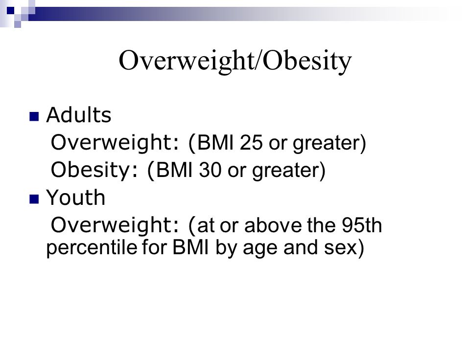 Overweight/Obesity Adults Overweight: (BMI 25 or greater)