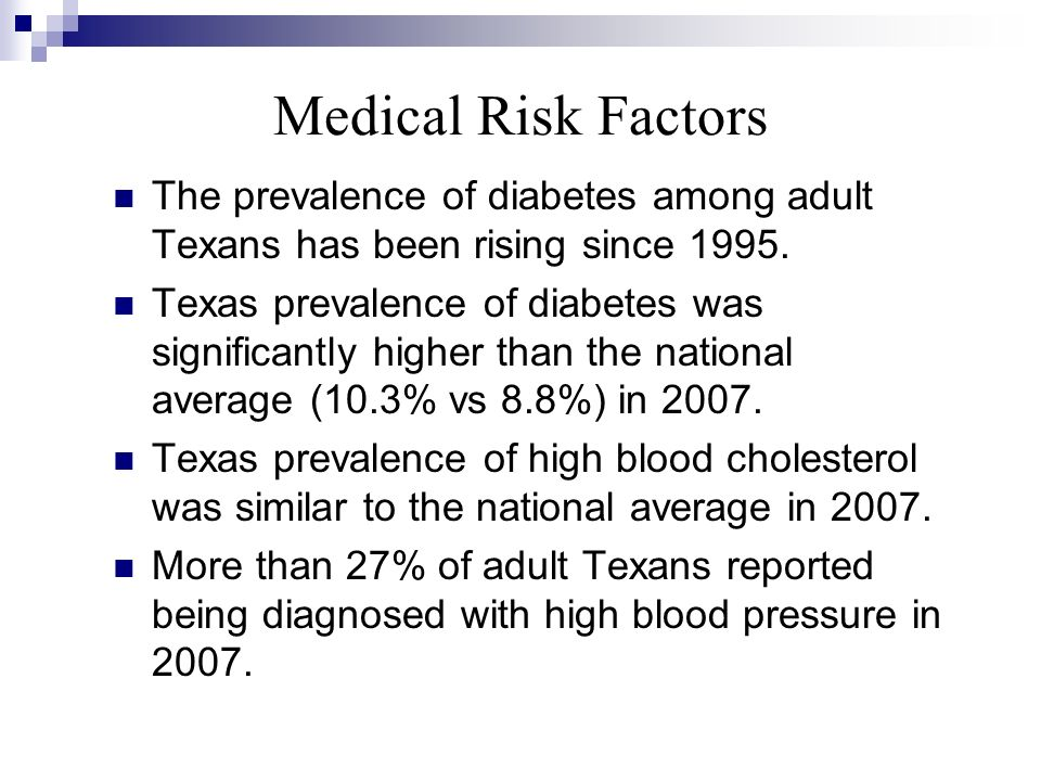 Medical Risk Factors The prevalence of diabetes among adult Texans has been rising since 1995.