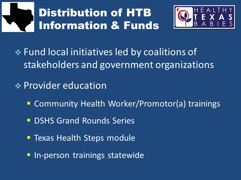 Distribution of HTB Information & Funds