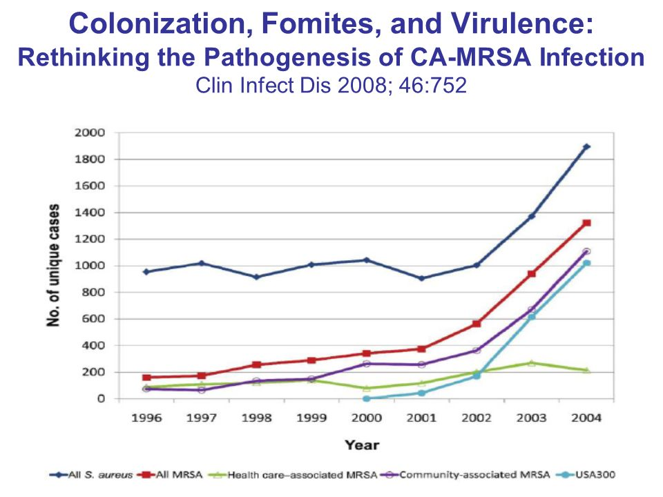 Colonization, Fomites, and Virulence: Rethinking the Pathogenesis of CA-MRSA Infection Clin Infect Dis 2008; 46:752