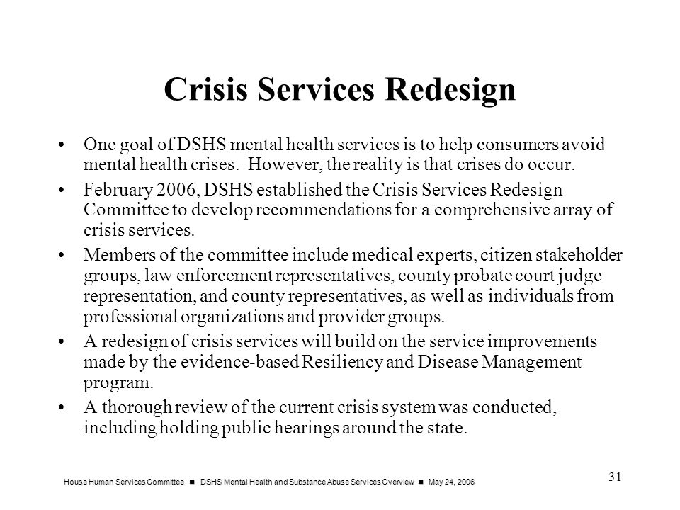 Crisis Services Redesign