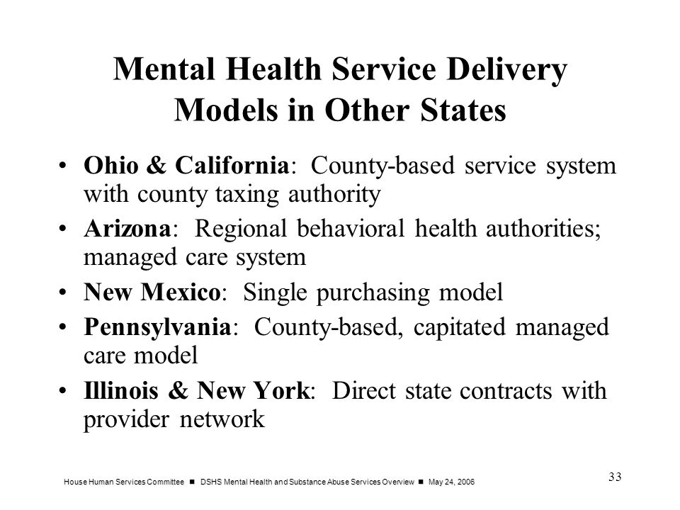 Mental Health Service Delivery Models in Other States